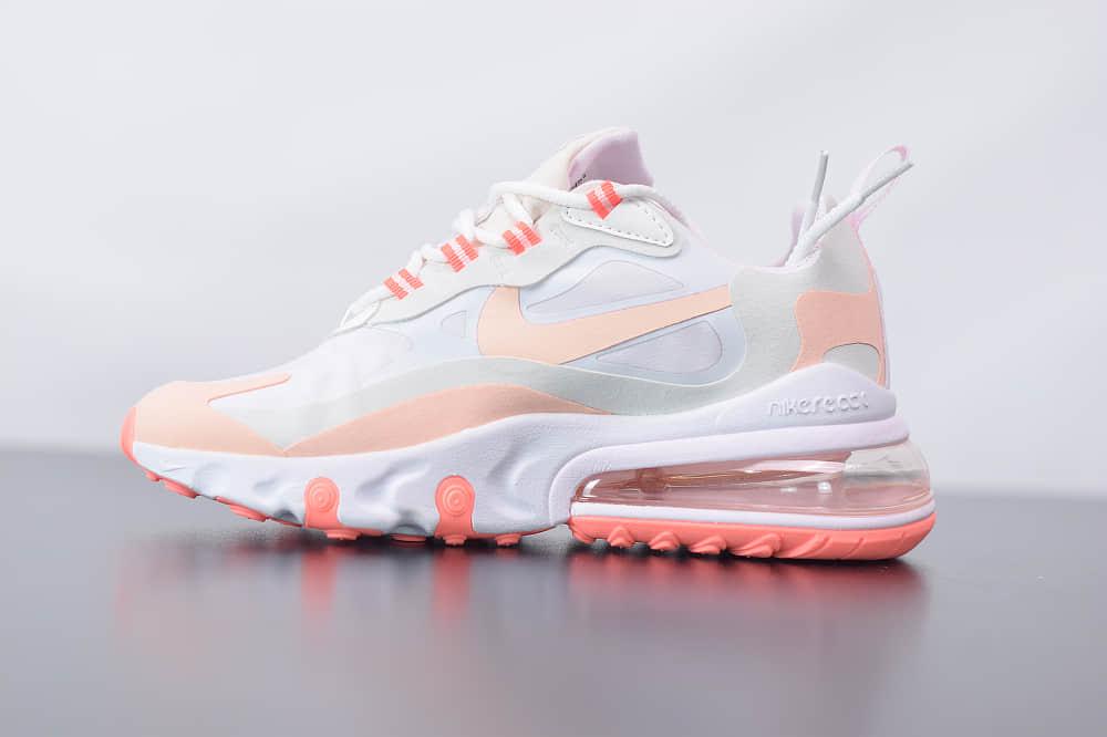 耐克Nike Air Max 270 React灰粉色气垫运动鞋纯原版本 货号:CJ0619-103