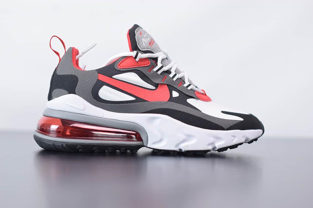耐克Nike Air Max 270 React灰黑红色气垫运动鞋纯原版本 货号:CI3866-002