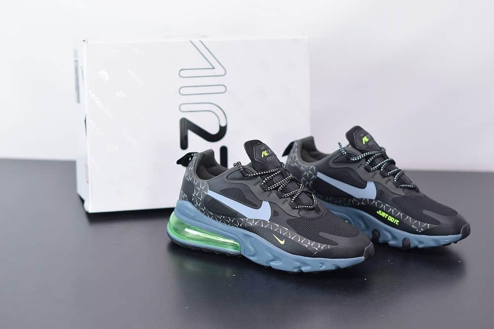 耐克Nike Air Max 270 React黑绿色气垫运动鞋纯原版本 货号:CT2538-001