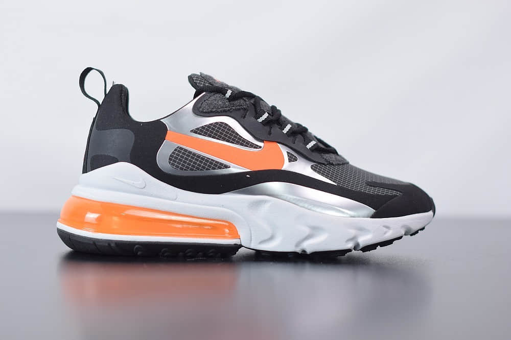 耐克Nike Air Max 270 React黑橙色气垫运动鞋纯原版本 货号:CQ4598-084