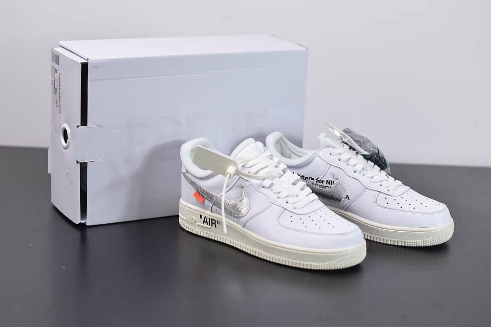 耐克OFF-WHITE X Air Force 1 OW空军一号联名白银低帮板鞋纯原版本 货号: AO4297-100