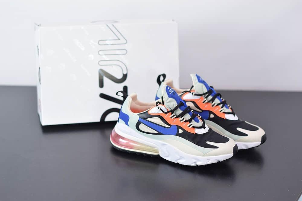 耐克Nike Air Max 270 React黑蓝色气垫运动鞋纯原版本 货号:CI3899-200