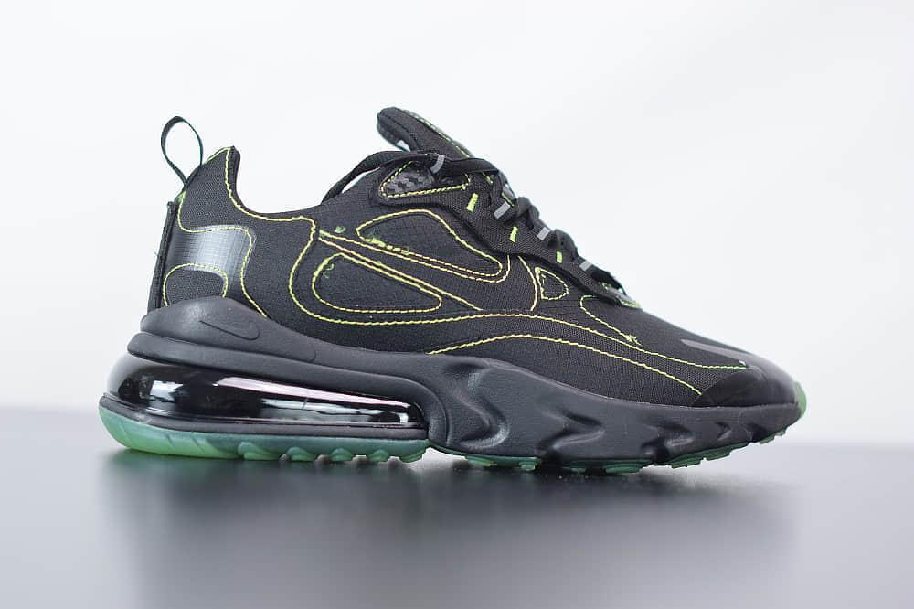 耐克Nike Air Max 270 React黑荧光绿气垫运动鞋纯原版本 货号:CQ6549-001
