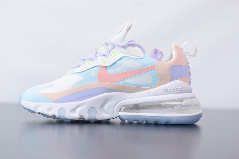 耐克Nike Air Max 270 React彩虹色气垫运动鞋纯原版本 货号:CQ4805-146