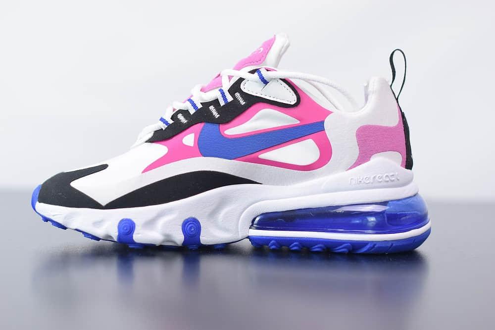 耐克Nike Air Max 270 React白蓝粉气垫运动鞋纯原版本 货号:CI3899-100