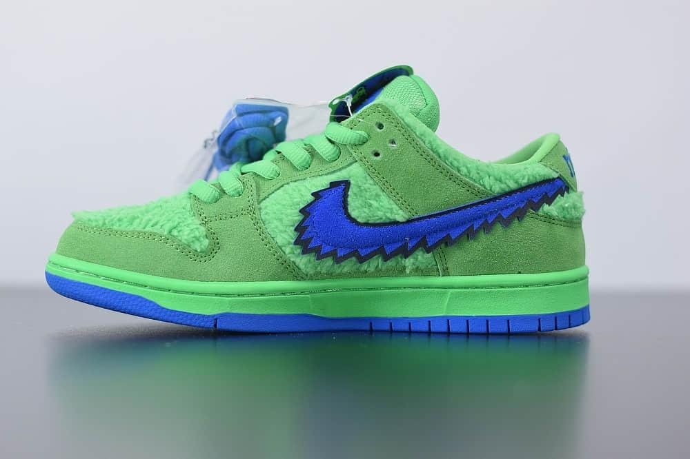 """耐克Grateful Dead x Nike SB Dunk Low """"Green Bear""""绿蓝低帮跳舞小熊板鞋纯原版本 货号:CJ5378-300"""
