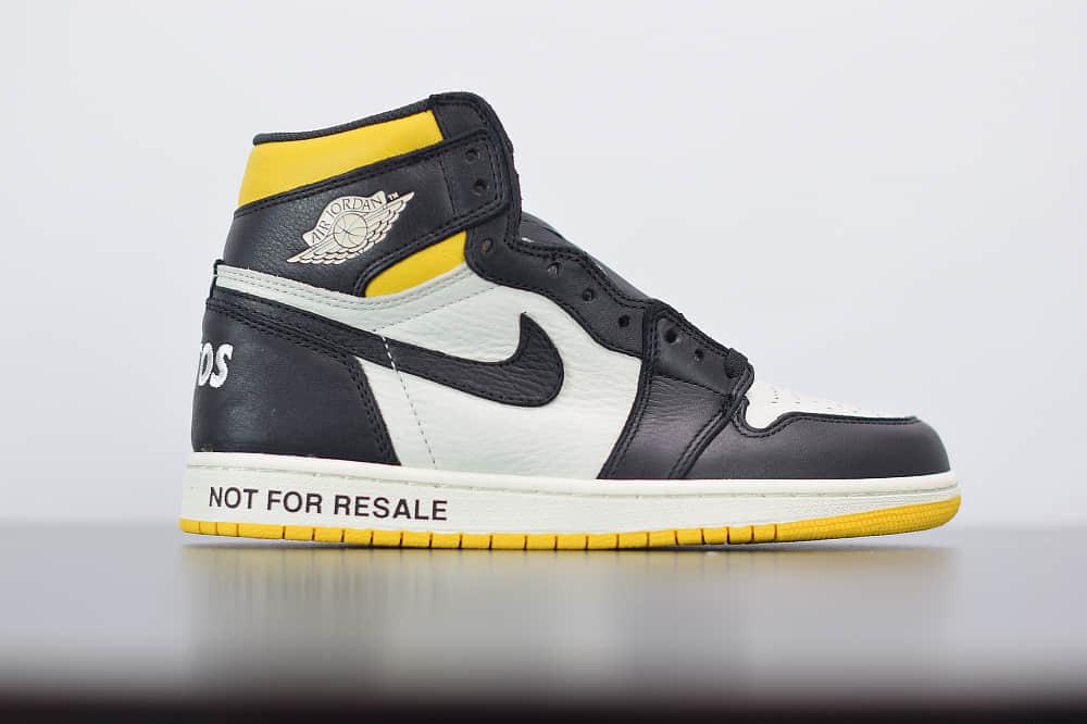 乔丹Air Jordan 1 RETRO HIGH 禁止转卖黑黄高帮篮球鞋纯原版本 货号:861428-107