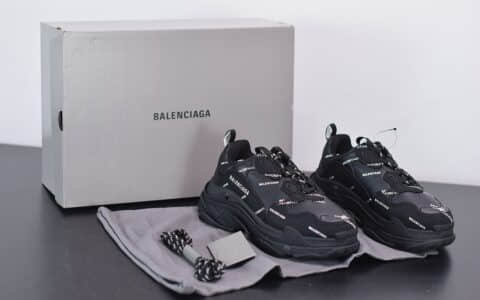 巴黎世家Balenciaga Triple S黑色标识复古老爹鞋纯原版本
