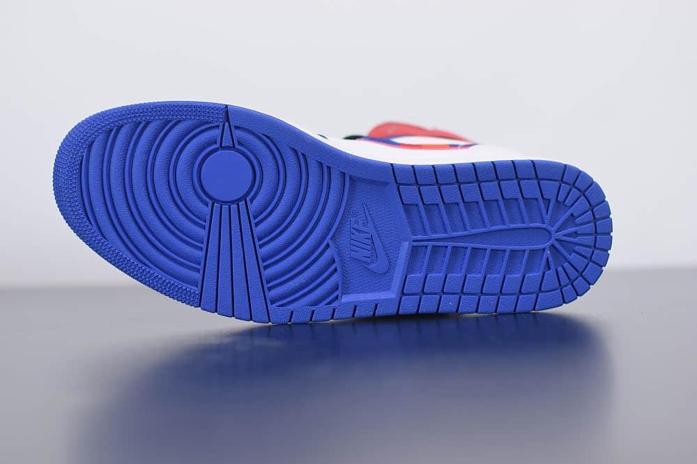 乔丹Air Jordan 1 Mid 乔1中帮蓝幻勾彩色刺绣鞋头白蓝拼接篮球鞋纯原版本 货号:852542-146