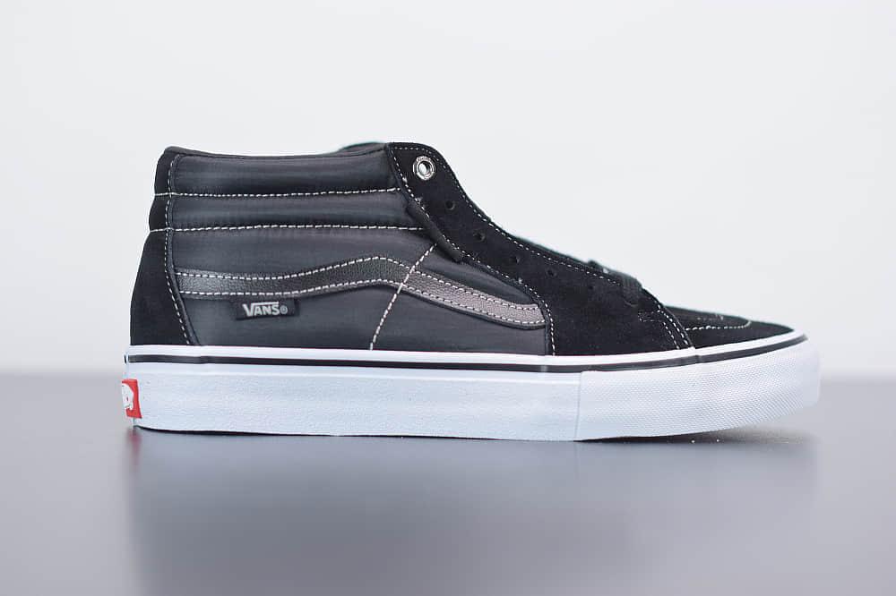 万斯Vans SK8-Mid Pro中帮黑色帆布滑板鞋纯原版本 货号:VN0A347UVGD