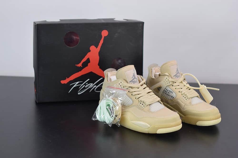 乔丹Off-White™ x Air Jordan 4 RetroCreamSail AJ4ow奶油联名款篮球鞋纯原版本 货号:CV9388-100