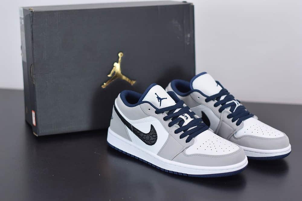 乔丹Air Jordan 1 Low AJ1低帮蓝蛇纹独立日板鞋纯原版本 货号:553558-103