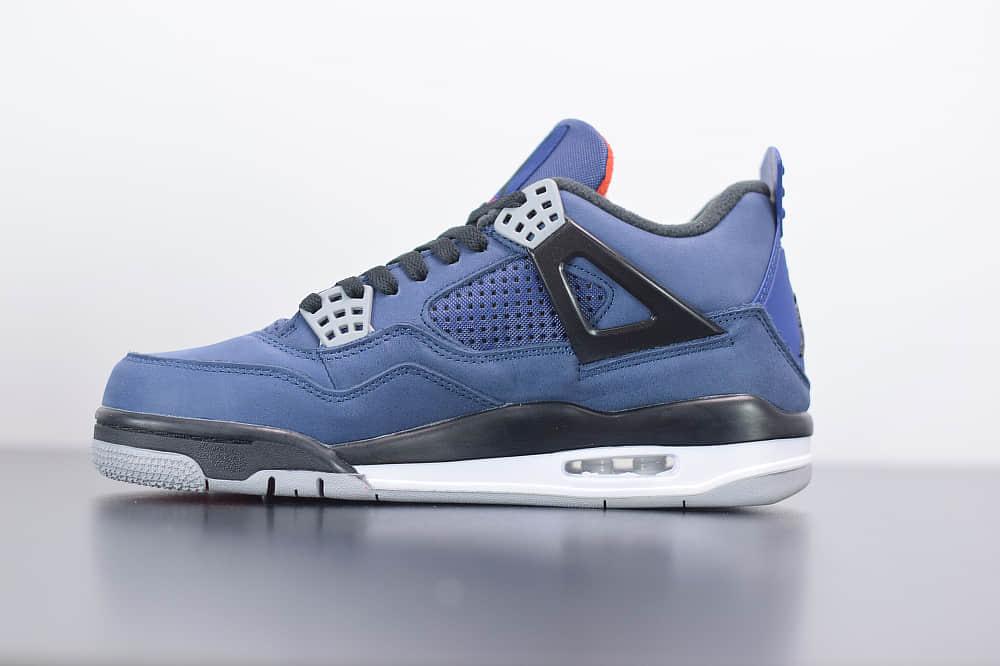 """乔丹Air Jordan 4 WNTR """"Loyal Blue""""AJ4小阿姆黑蓝毛巾公牛篮球鞋纯原版本 货号:CQ9597-401"""