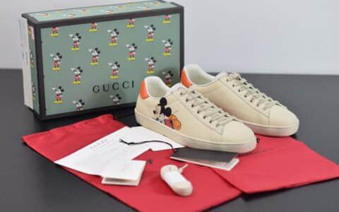 古驰Gucci Ace X Disney小白鞋系列低帮米奇做旧休闲鞋纯原版本 货号:603697AYO709591