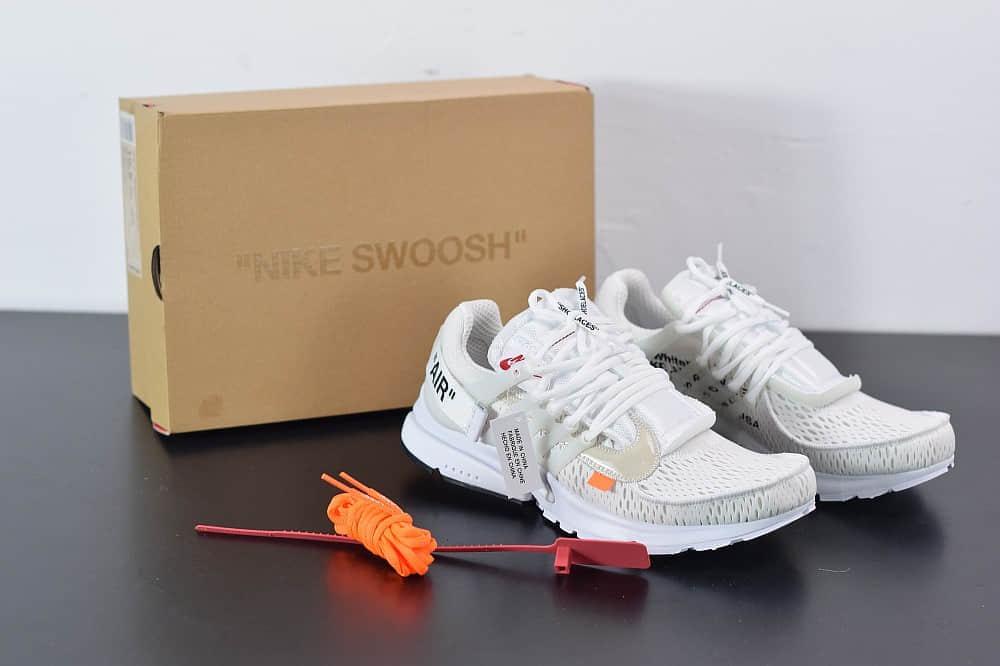 耐克Nike Air Presto x OFF-WHITE 2.0 The Ten耐克王解构OW白色联名袜子跑鞋纯原版本 货号:AA3830-100