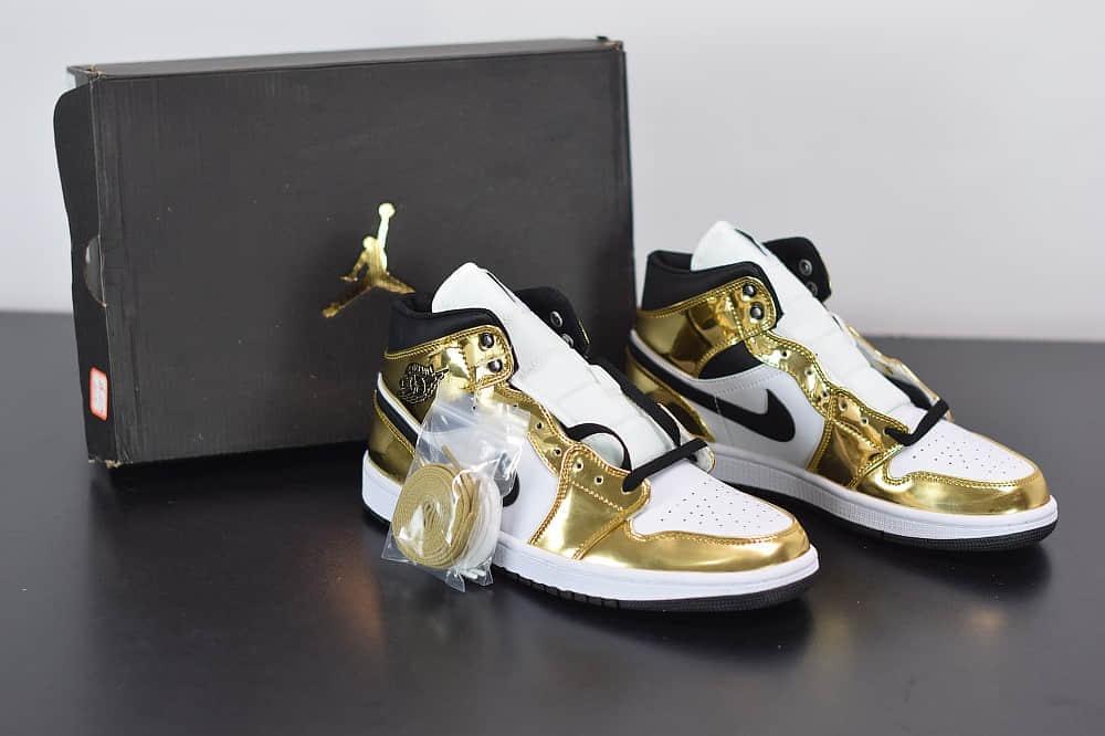 乔丹Air Jordan 1 Mid中帮液态土豪金篮球鞋纯原版本 货号:554727-156