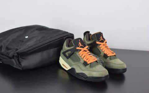 乔丹Jordan4 x Travis Scott Olive联名橄榄绿麂皮篮球鞋纯原版本 货号:JBM351-M1