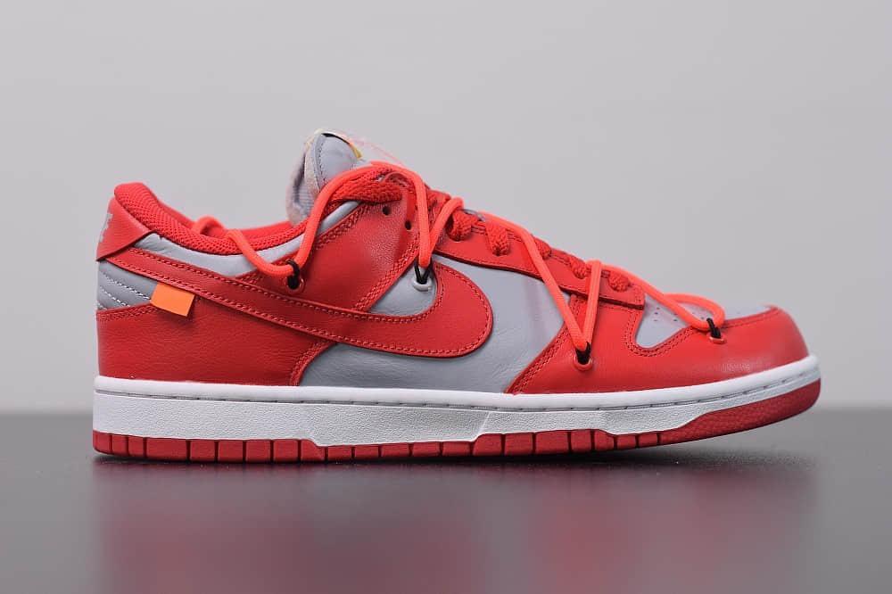 耐克OFF-WHITE x Futura x Nike Dunk Low周杰伦同款低帮灰红板鞋纯原版本 货号:CT0856-600