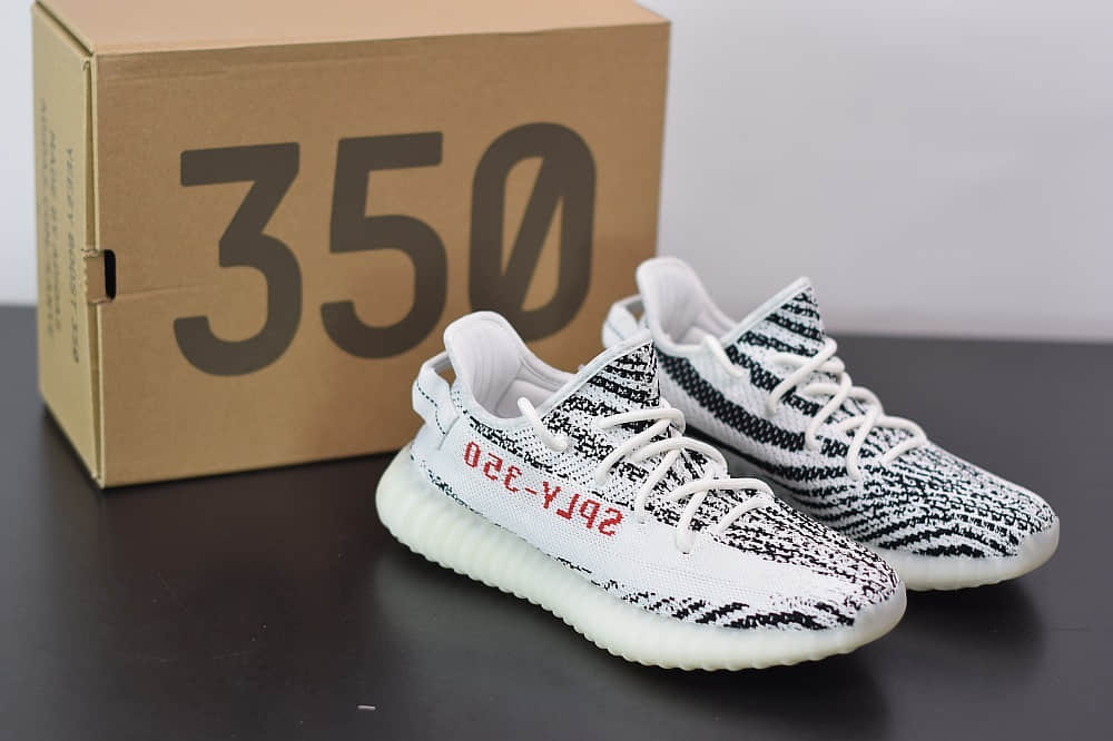 阿迪达斯ADIDAS YEZZY 350 V2白斑马爆米花休闲慢跑鞋纯原版本 货号:CP9654