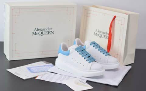 麦昆Alexander McQueen 2020早春款荧光七色系列渐白蓝尾小白松糕鞋纯原版本