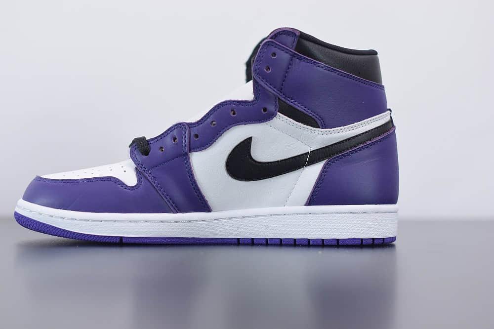 """乔丹Air Jordan 1 """" Court Purple""""乔1高帮紫脚趾纯原版本 货号:555088-500"""