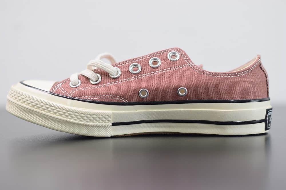 匡威Converse All Star 1970S 低帮三星标水蜜粉配色硫化帆布鞋 货号:162622C