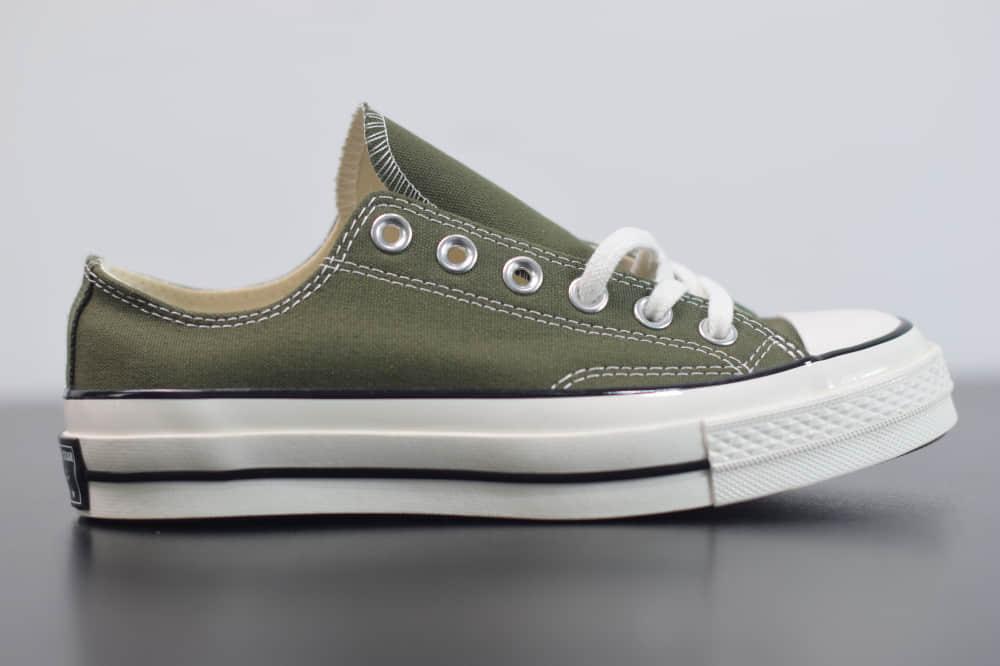 匡威converse all star1970S三星标低帮军绿色硫化帆布鞋纯原版本 货号:162060C