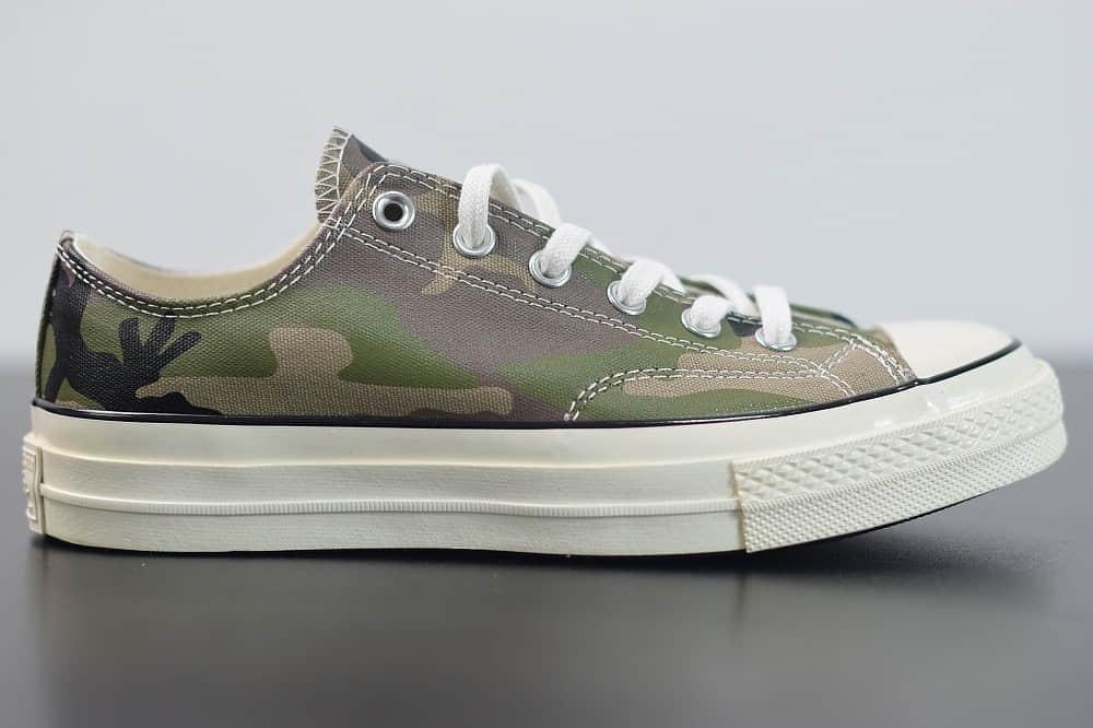 匡威Converse Chuck Taylor All Star 1970s OXBrown Duck低帮经典陆军迷彩深绿黑休闲运动硫化帆布鞋纯原版本 货号:165559C