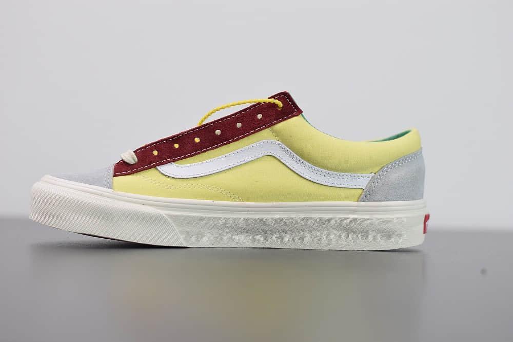 万斯VANS SALT WASH STYLE 36 DECON SF低帮牛油果灰黄红配色帆布鞋纯原版本 货号:VN0A3DZ3WZ6