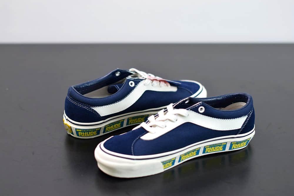 万斯Vans x Rhude Bold Ni 联名款加州车牌串标蓝黄配色复古滑板鞋纯原版本 货号:VN0A3WLPTHF