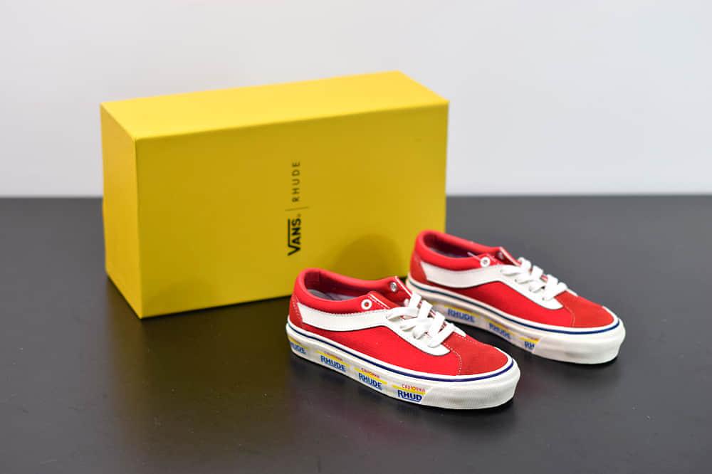 万斯Vans x Rhude Bold Ni 联名款加州车牌串标红黄配色复古滑板鞋纯原版本 货号:VN0A3WLPTHF