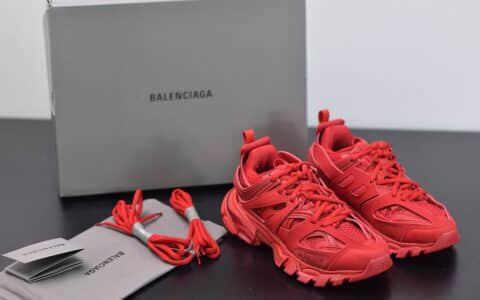 巴黎世家Balenciaga Sneaker Tess s.Gomma MAILLE WHITEORANGE红色三代户外概念鞋纯原版本