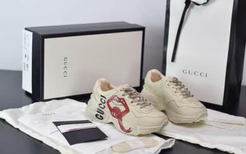 古驰Gucci Rhyton做旧复古米白色嘴唇印花老爹鞋纯原版本 货号:552089 A9L00 9522
