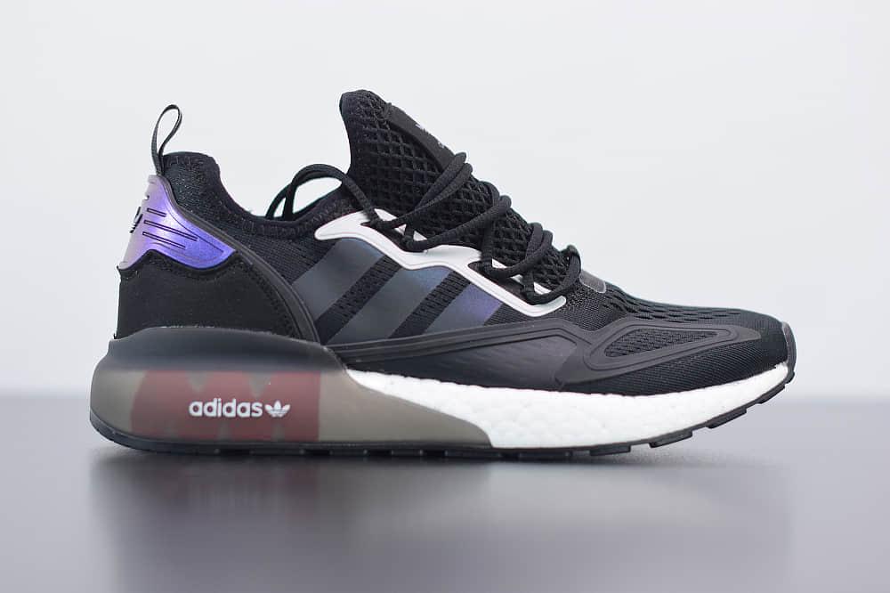 阿迪达斯adidas Originals ZX 2K Boost极光黑紫爆米花运动鞋纯原版本 货号:FX7475