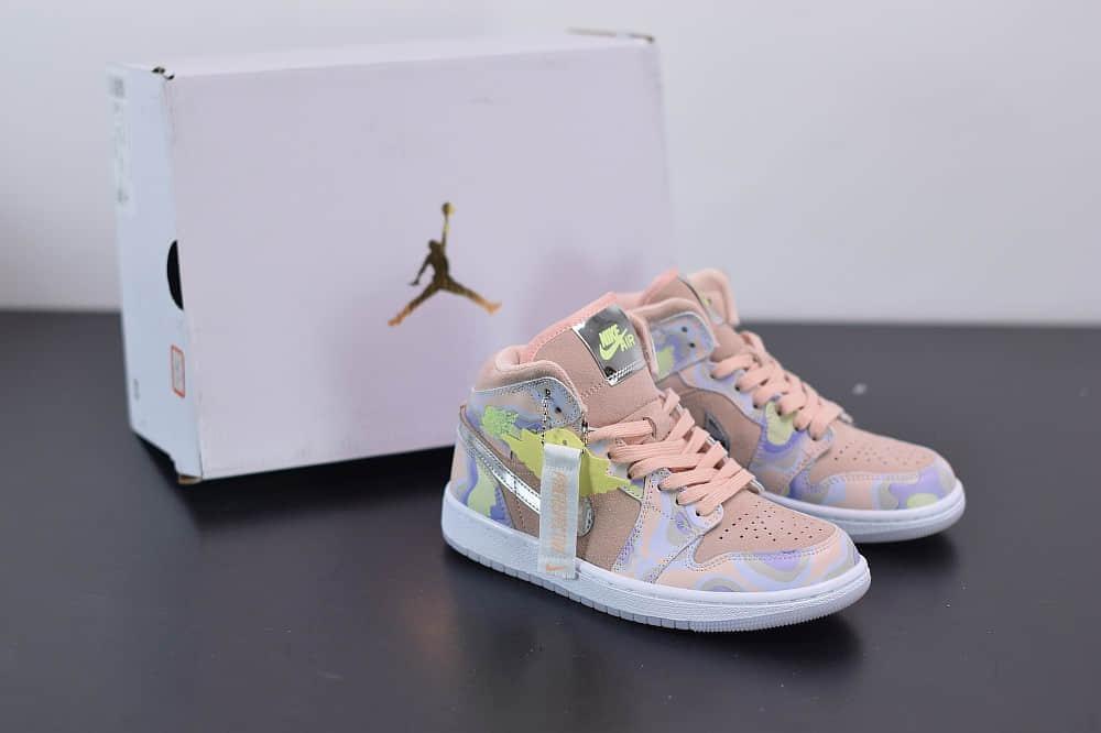 乔丹Air Jordan 1 Mid AJ1银粉云朵中帮板鞋纯原版本 货号:CW6008-600