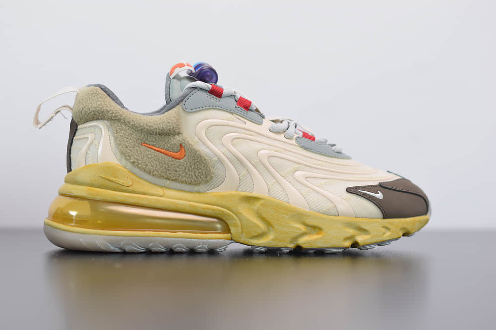 耐克Travis Scott x Air Max 270 React Cactus Jack TS联名款米黄气垫鞋纯原版本 货号:CT2864-200