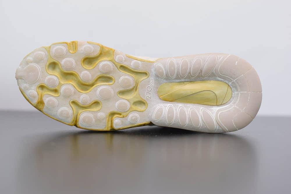 耐克Travis Scott x Air Max 270 React Cactus Jack TS联名款米黄气垫鞋纯原版本 货号:CT2864-200