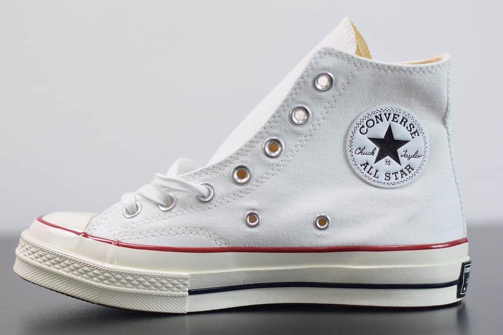匡威converse all star1970S三星标高帮白色硫化帆布鞋纯原版本 货号:162056C