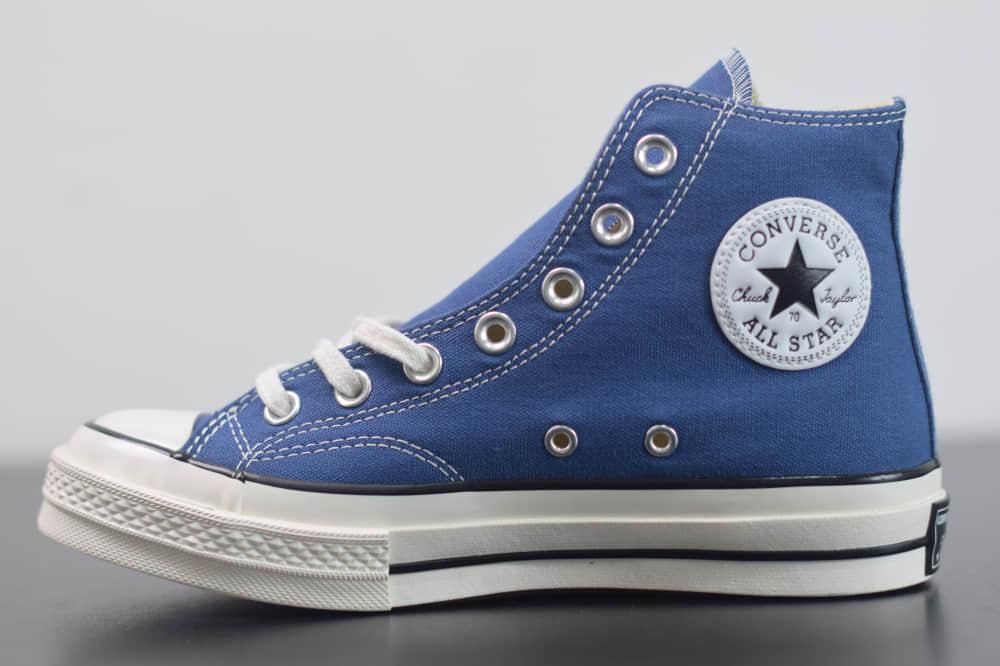 匡威converse all star1970S三星标高帮海军蓝色硫化帆布鞋纯原版本 货号:162055C