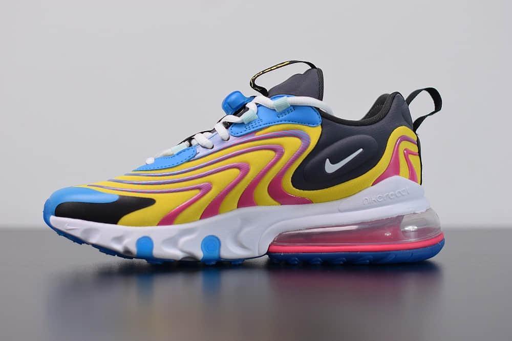 耐克Nike Air Max 270 React ENG黄蓝色气垫运动鞋纯原版本 货号:CD0113-400