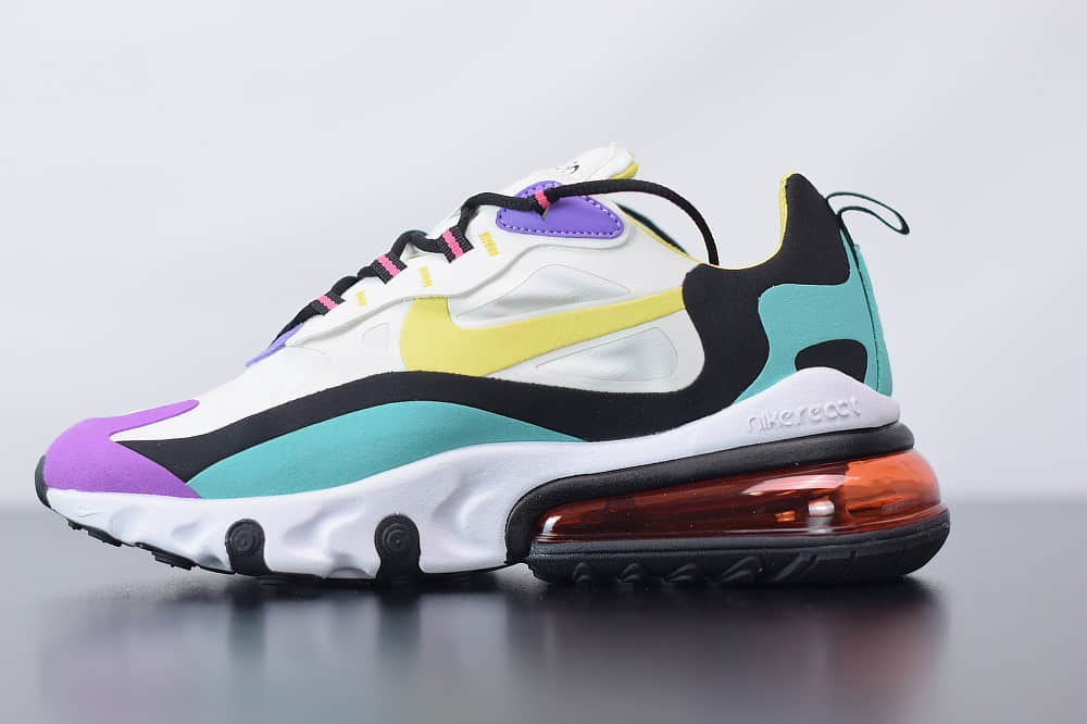 耐克Nike Air Max 270 React亮紫罗兰气垫运动鞋纯原版本 货号:AO4971-101