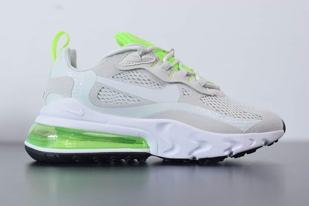 耐克Nike Air Max 270 React瑞亚赛车米白绿银粉气垫运动鞋纯原版本 货号:CU3447-001