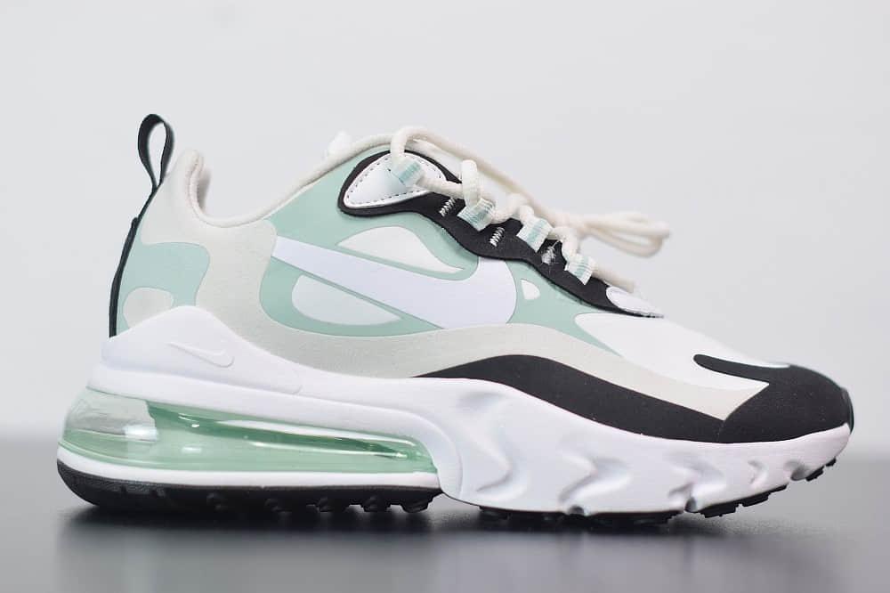耐克Nike Air Max 270 React黑白绿色气垫运动鞋纯原版本 货号:CI3899-001