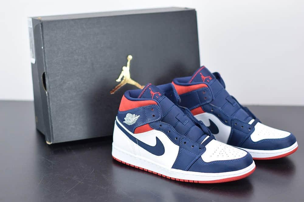 乔丹Air Jordan 1 Mid AJ1 美国队长奥运海军蓝中帮篮球鞋纯原版本 货号:852542-104