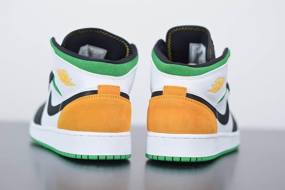 乔丹Air Jordan 1 Retro Mid SE GS'Nike Hoops' AJ1中帮白绿拼接女子篮球鞋纯原版本 货号:BQ6931-101