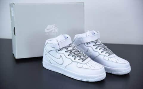 耐克AIR FORCE 1 MID 3M二次元镭射反光满天星中帮板鞋纯原版本 货号:369733-809