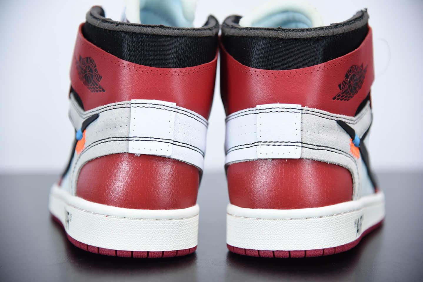 乔丹OFF WHITE x AIR JORDAN AJ1 10X OW白红芝加哥1.0联名款纯原版本 货号:AA3834-101