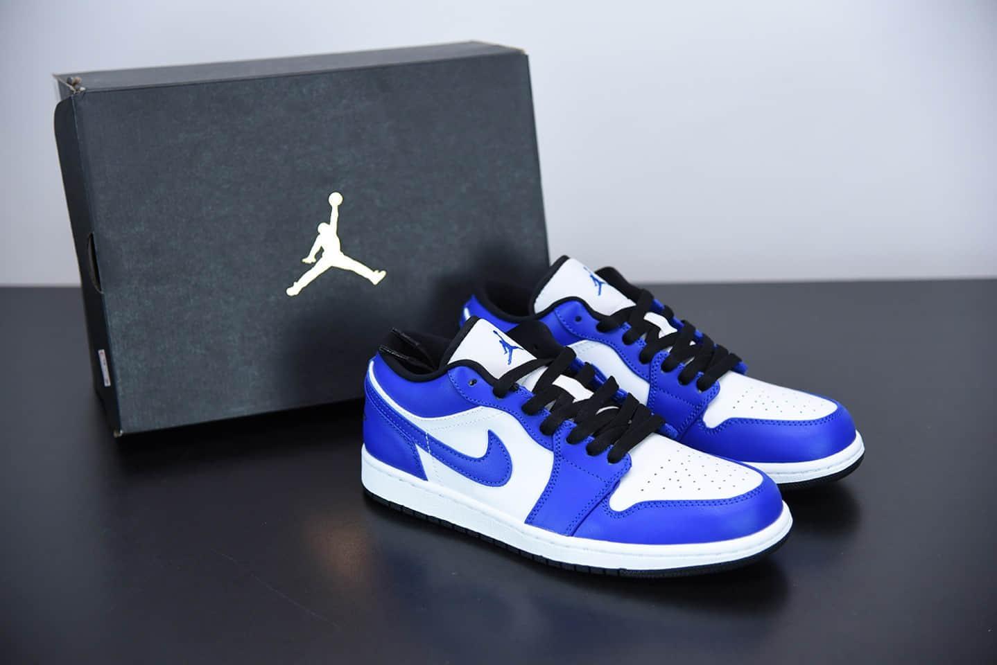"""乔丹Air Jordan 1 Low """"Game Royal""""低帮白蓝小闪电板鞋纯原版本 货号:553558-124"""