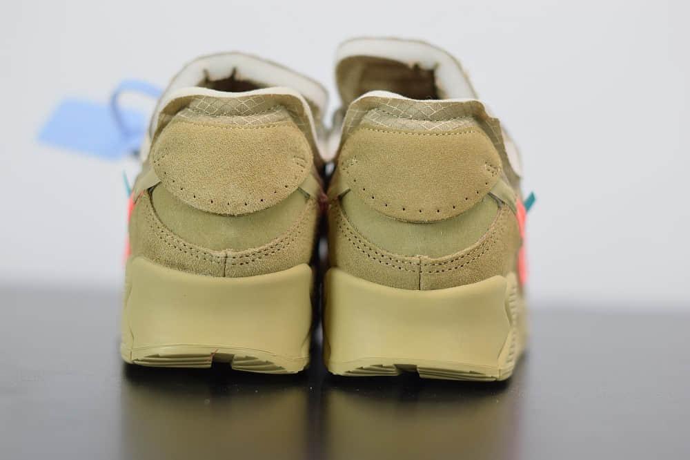 耐克OFF-WHITE x Air Max 90沙漠黄复古气垫百搭休闲运动慢跑鞋纯原版本 货号:AA7293-200
