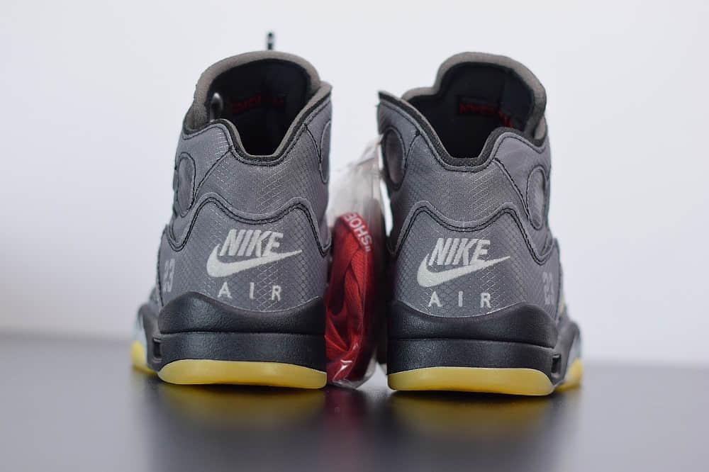 乔丹OFF-WHITE X Air Jordan 5 OW联名黑蝉翼男子文化篮球鞋纯原版本 货号:CT8480-001